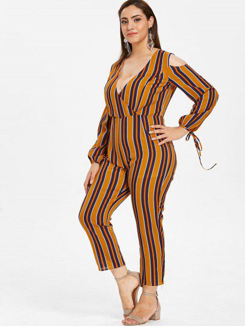 best ZAFUL Plus Size Cold Shoulder Striped Jumpsuit - MULTI 4X Mobile