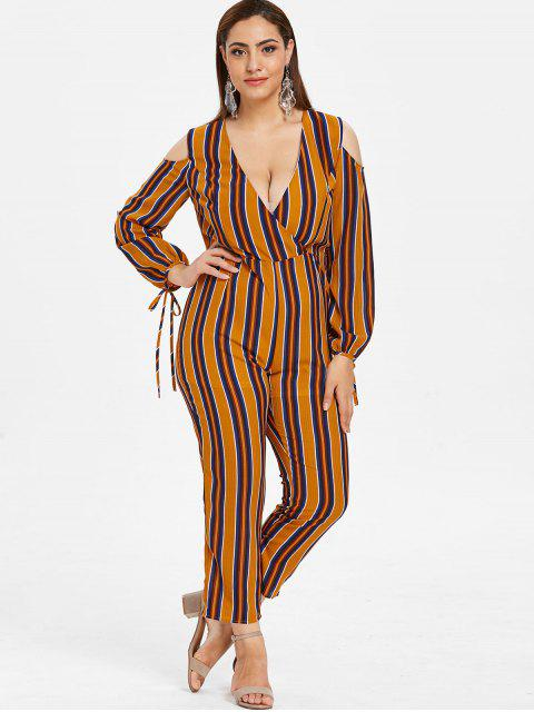ZAFUL Plus Size Cold Shoulder Gestreifter Overall - Multi 1X Mobile