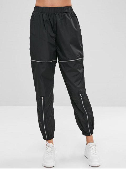 hot Swishy Zipped Track Pants - BLACK M Mobile