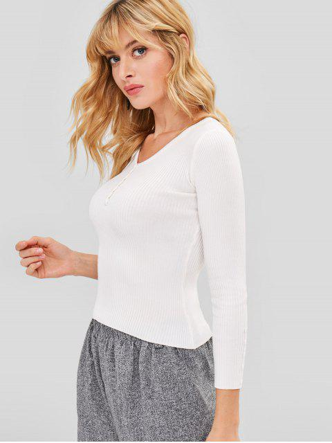 online Ribbed Knit V Neck Sweater - WHITE ONE SIZE Mobile