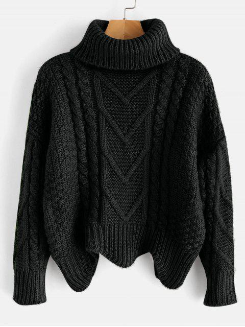 trendy Chunky Knit Turtleneck Sweater - BLACK ONE SIZE Mobile