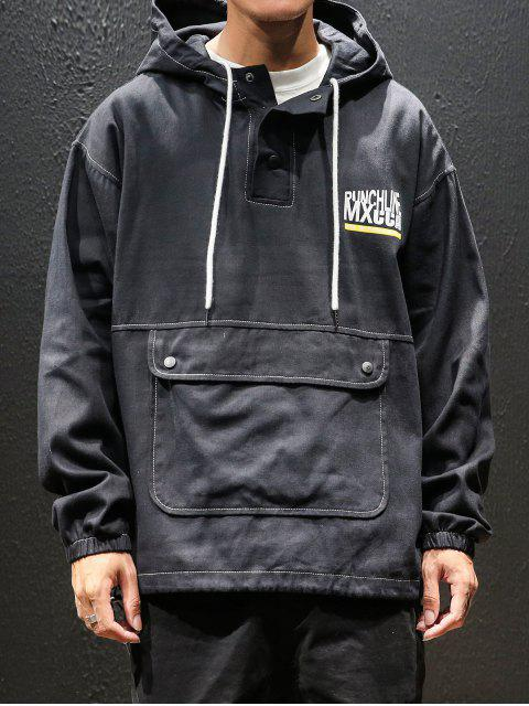 affordable Letter Printed Kangaroo Pocket Hoodie - BLACK 3XL Mobile