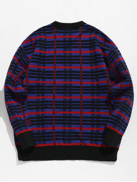 best Crew Neck Letter Embroidery Plaid Sweater - DEEP BLUE L Mobile