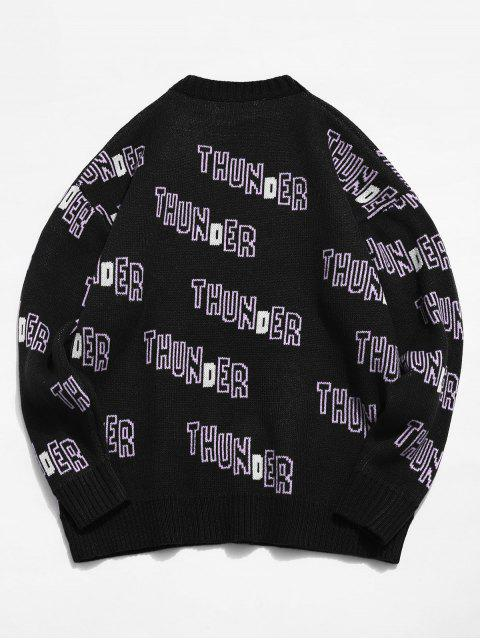 outfits Letter Thunder Graphic Sweater - BLACK L Mobile
