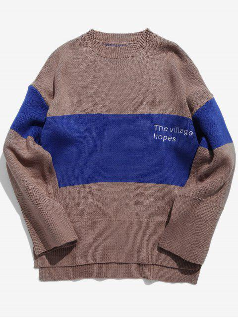 women High Low Embroidery Color Block Sweater - TAN M Mobile
