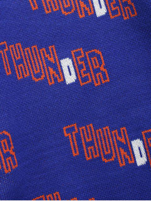 new Letter Thunder Graphic Sweater - COBALT BLUE L Mobile