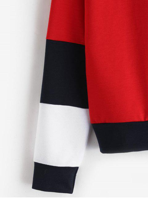 shops ZAFUL Tricolor Pullover Hoodie - RED L Mobile