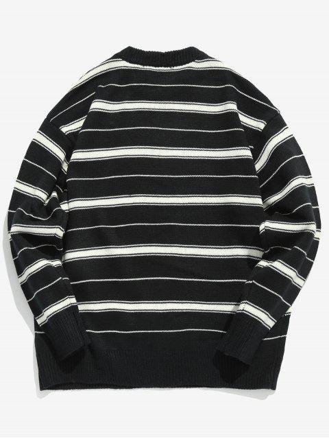 hot Two Tone Striped Pullover Sweater - BLACK L Mobile