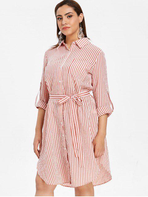 latest ZAFUL Plus Size Striped Shirt Dress with Belt - MULTI L Mobile