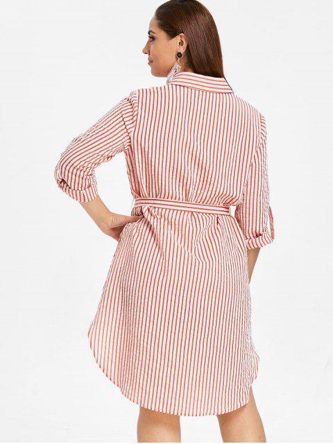 fashion ZAFUL Plus Size Striped Shirt Dress with Belt - MULTI 2X Mobile