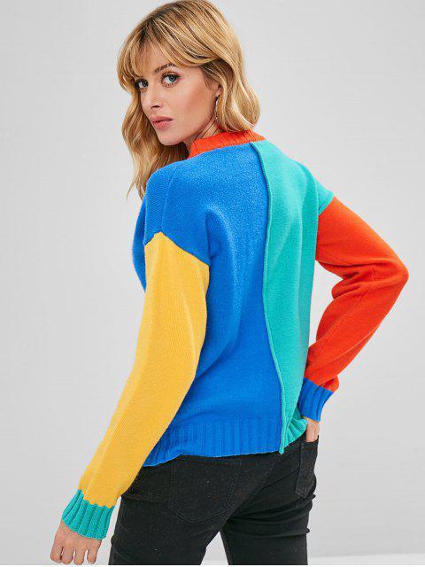 sale ZAFUL Pullover Color Block Sweater - MULTI ONE SIZE Mobile