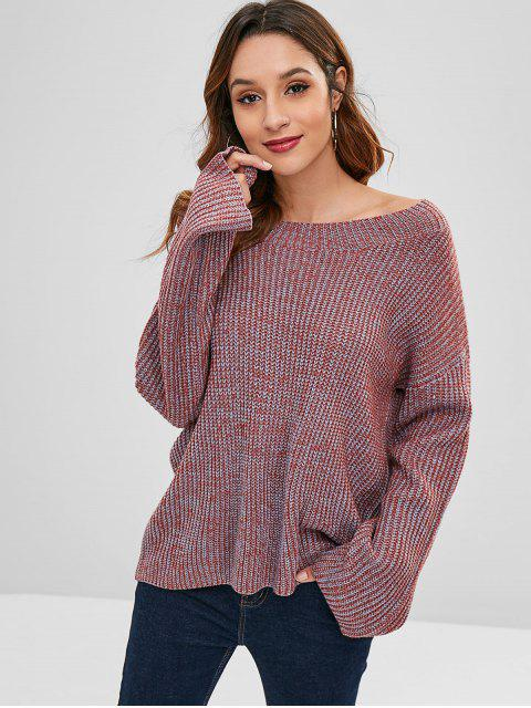 womens ZAFUL Loose Pullover Heathered Sweater - MULTI ONE SIZE Mobile