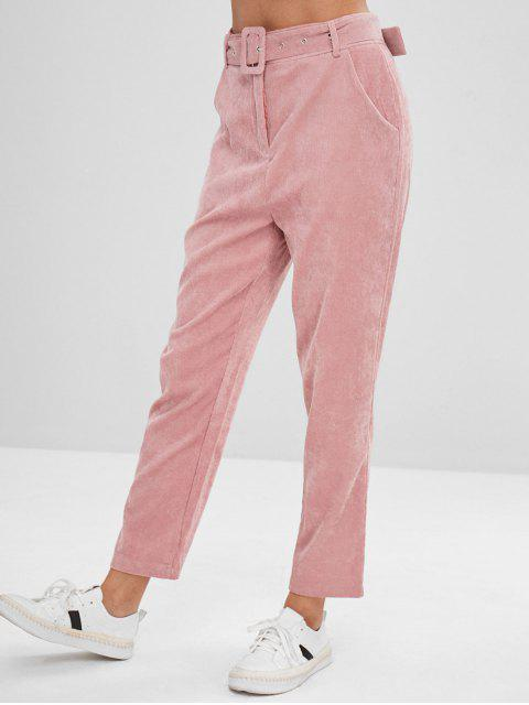 affordable Solid Color Belted Corduroy Pants - PINK XL Mobile