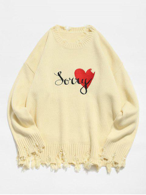 best Heart Graphic Ripped Sweater - CORNSILK M Mobile