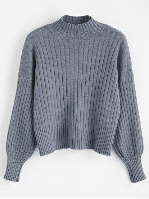 trendy Dropped Shoulder Mock Neck Sweater - BLUE GRAY ONE SIZE Mobile