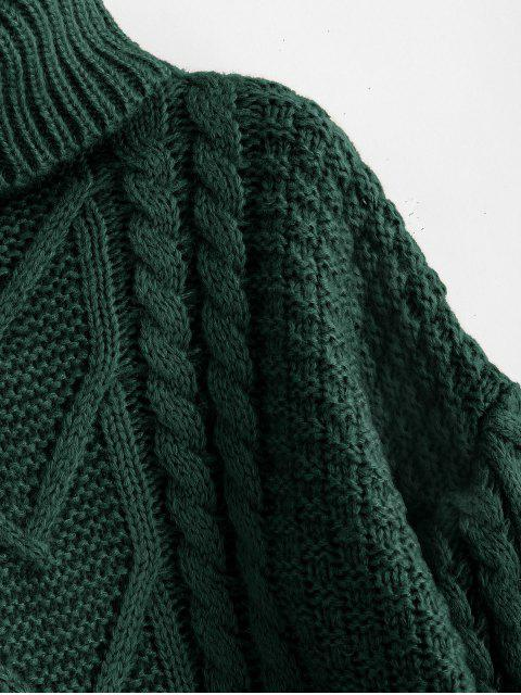 outfits Chunky Knit Turtleneck Sweater - DARK FOREST GREEN ONE SIZE Mobile