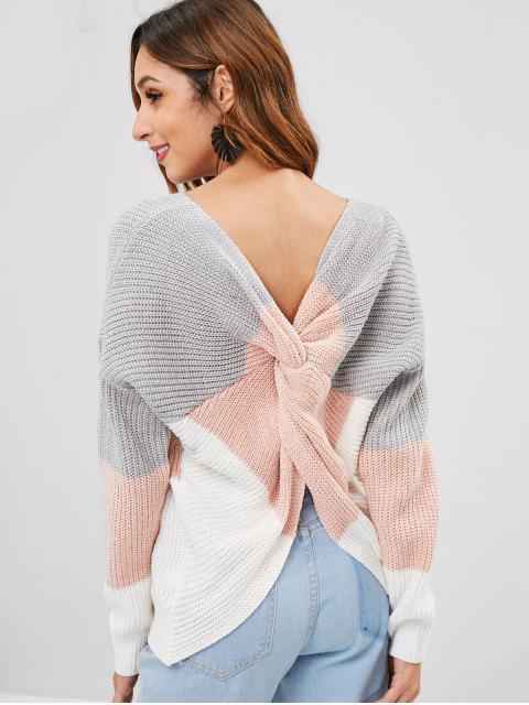fancy Striped V Neck Twist Sweater - MULTI-A ONE SIZE Mobile