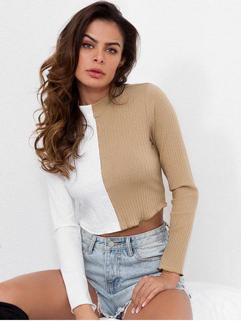 lady Two Tone Mock Neck Knitted Top - TAN S Mobile