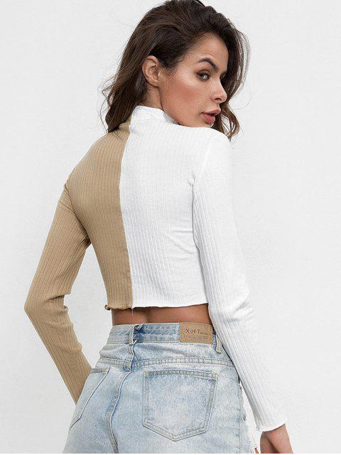 online Two Tone Mock Neck Knitted Top - TAN M Mobile