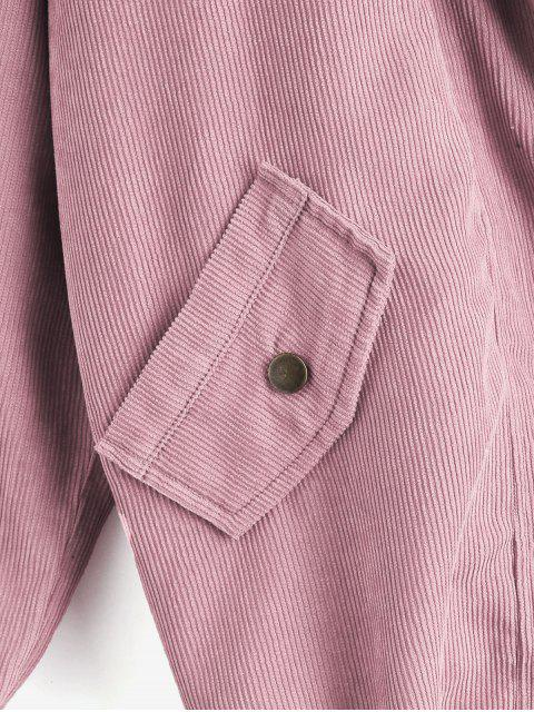 lady ZAFUL Fleece Vest and Corduroy Jacket Twinset - LIGHT PINK S Mobile