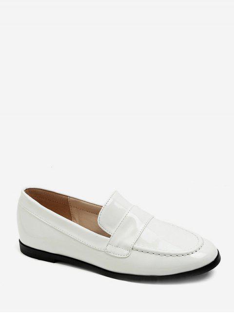 Moc Toe Mocassins En Cuir PU Flats - Blanc EU 38 Mobile