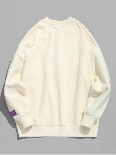 online Chinese Graphic Embroidery Fleece Sweatshirt - WARM WHITE M Mobile