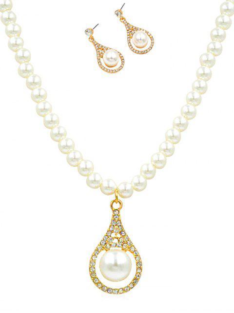 online Rhinestone Faux Pearl Wedding Jewelry Set - GOLD  Mobile
