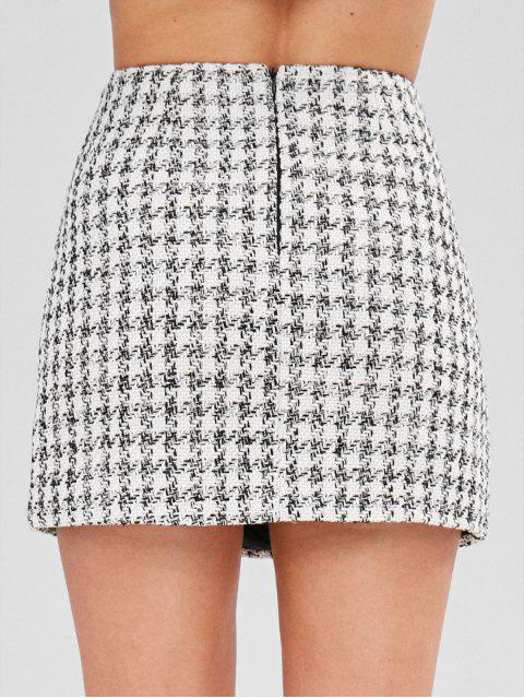 outfits Tweed Mini Plaid Skirt - WHITE M Mobile