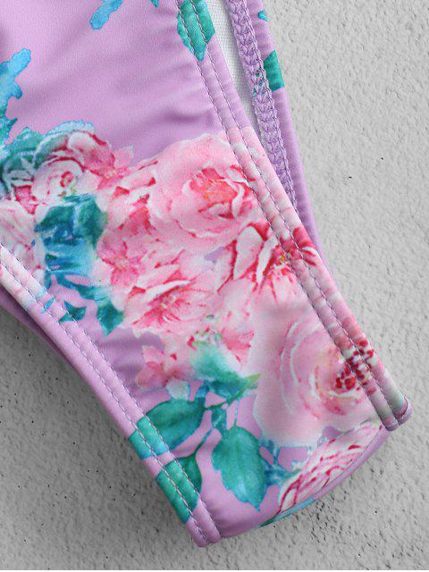 new ZAFUL Floral Bandeau Scrunch Butt Bikini Set - MAUVE L Mobile