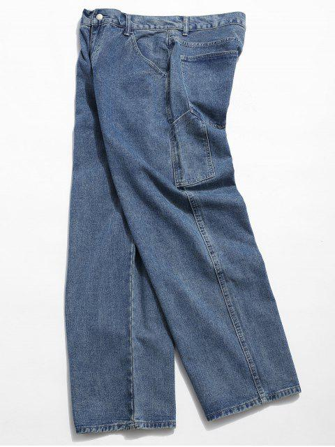 women Casual Straight Leg Jeans - DENIM BLUE 2XL Mobile