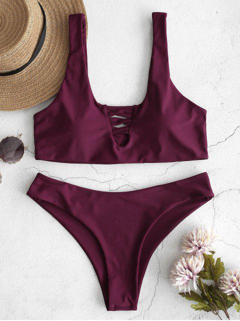 hot ZAFUL U Neck Lattice Front Bikini Set - PLUM PIE M Mobile