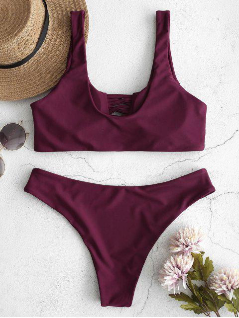 new ZAFUL U Neck Lattice Front Bikini Set - PLUM PIE S Mobile