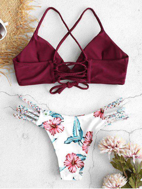 ladies ZAFUL Lace-Up Braided Flower Bikini Set - RED WINE L Mobile