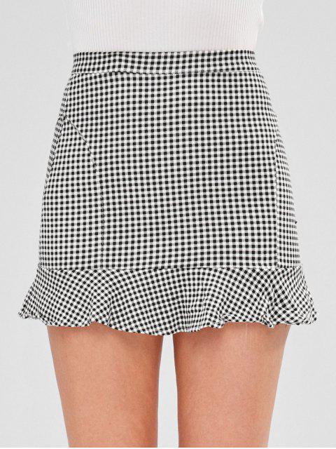 online Short Gingham Ruffled Skirt - MULTI M Mobile