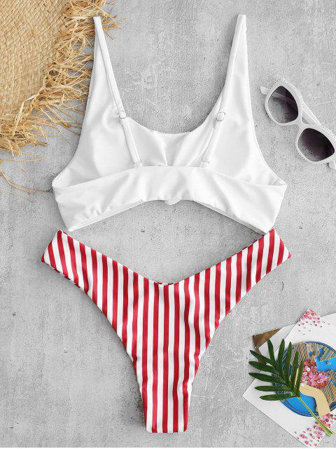lady ZAFUL Brazilian Flag Print Contrast Striped Knot Bikini Set - RED M Mobile