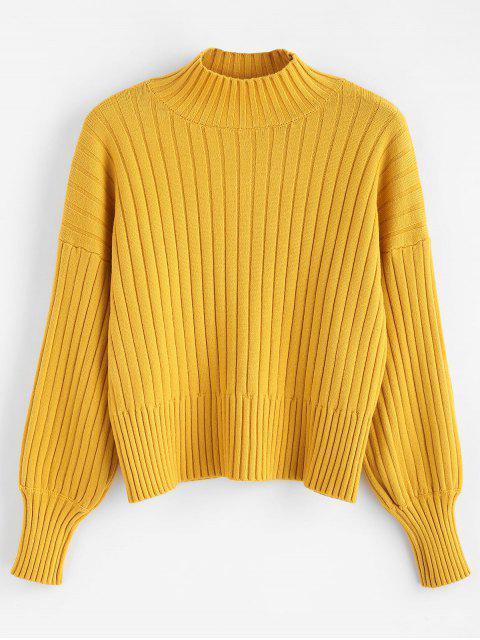 women Dropped Shoulder Mock Neck Sweater - MUSTARD ONE SIZE Mobile