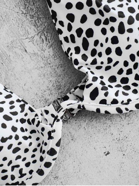 ladies ZAFUL Printed Underwire Bikini - WHITE L Mobile