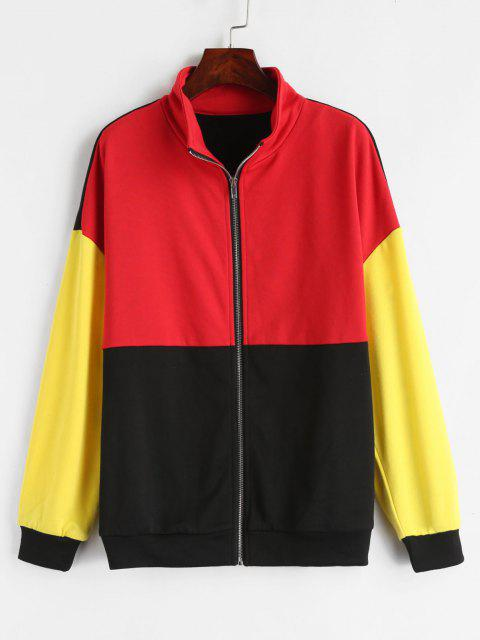 hot ZAFUL Zip Up Color Block Terry Sweatshirt - MULTI M Mobile