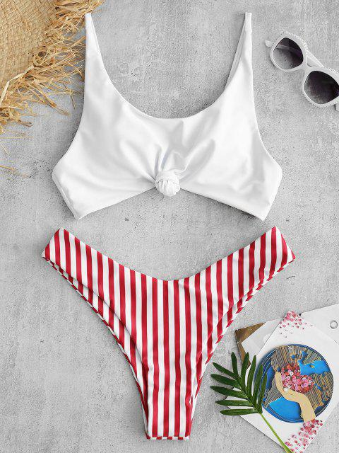 trendy ZAFUL Brazilian Flag Print Contrast Striped Knot Bikini Set - RED S Mobile