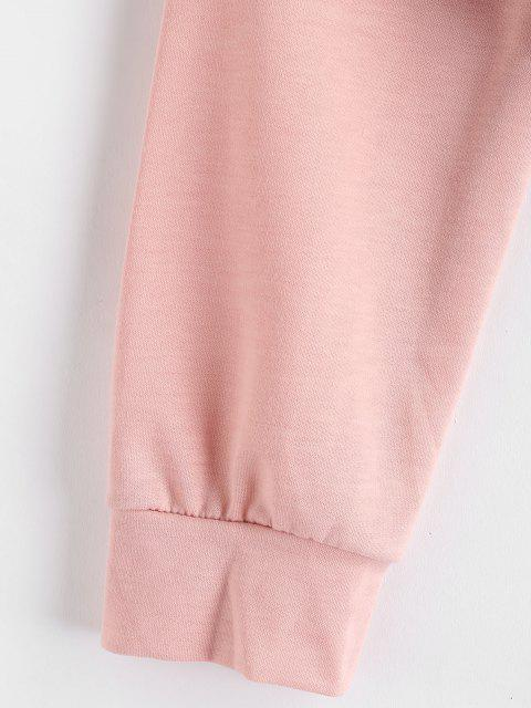 outfits Drawstring Color Block Pullover Sweatshirt - PINK L Mobile