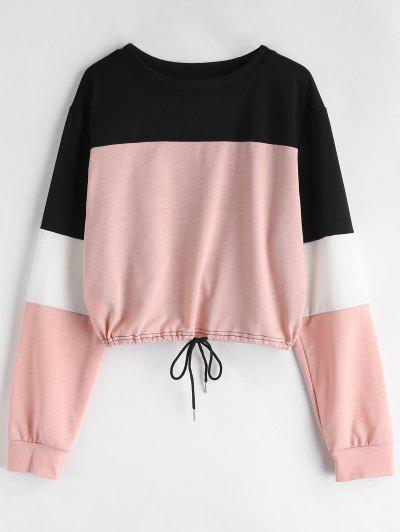 Drawstring Color Block Pullover Sweatshirt - Pink S