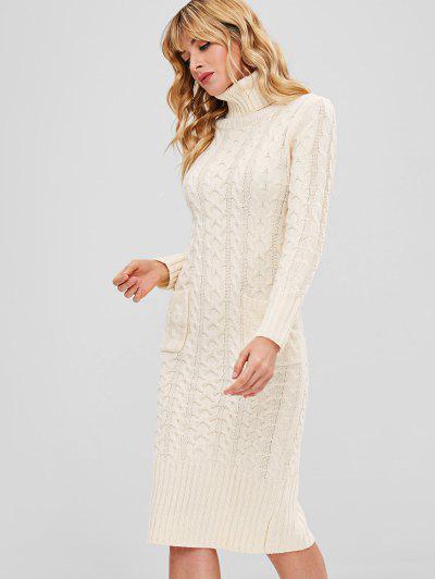 5650ac16b92 ... Robe Pull Moulante En Tricot à Câble Avec Poche - Blanc Chaud