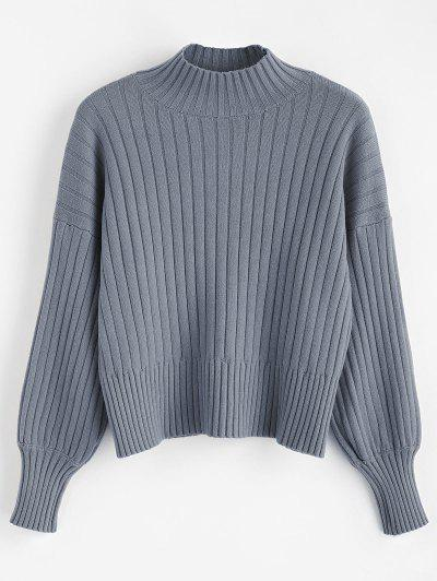 55%OFF Dropped Shoulder Mock Neck Sweater - Blue Gray 81a20f725