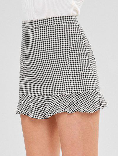 cad8e943f8cd5 Short Gingham Ruffled Skirt - Multi L ...