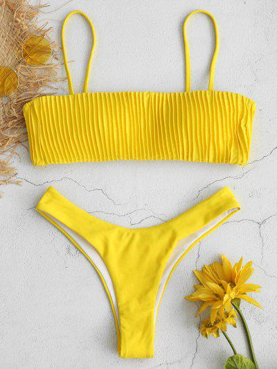 8e48e5ef9eea3 ZAFUL Ruched High Leg Bikini Set - Yellow M