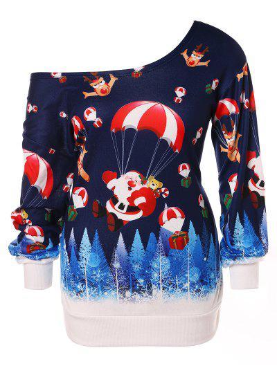 Sudadera Con Cuello Redondo Y Estampado De Navidad De Santa Claus - Azul Profundo L