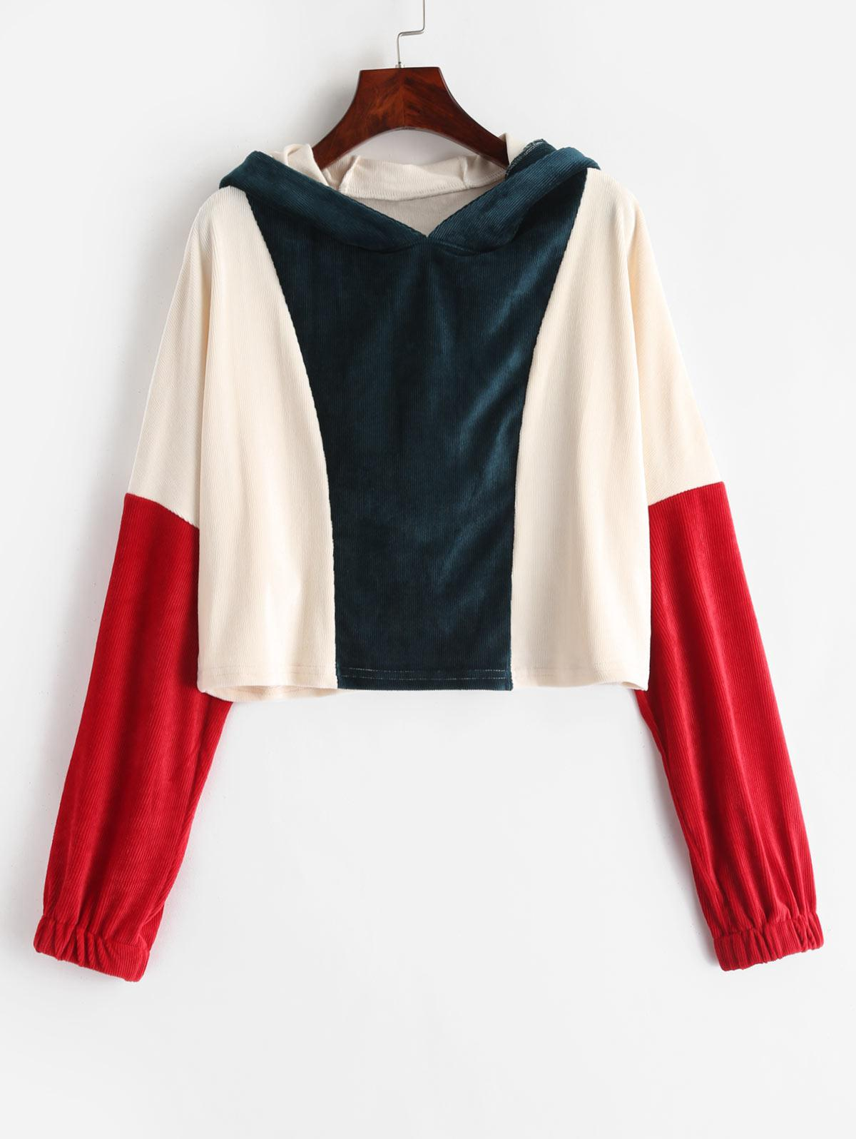 ZAFUL Three Tone Corduroy Crop Hoodie