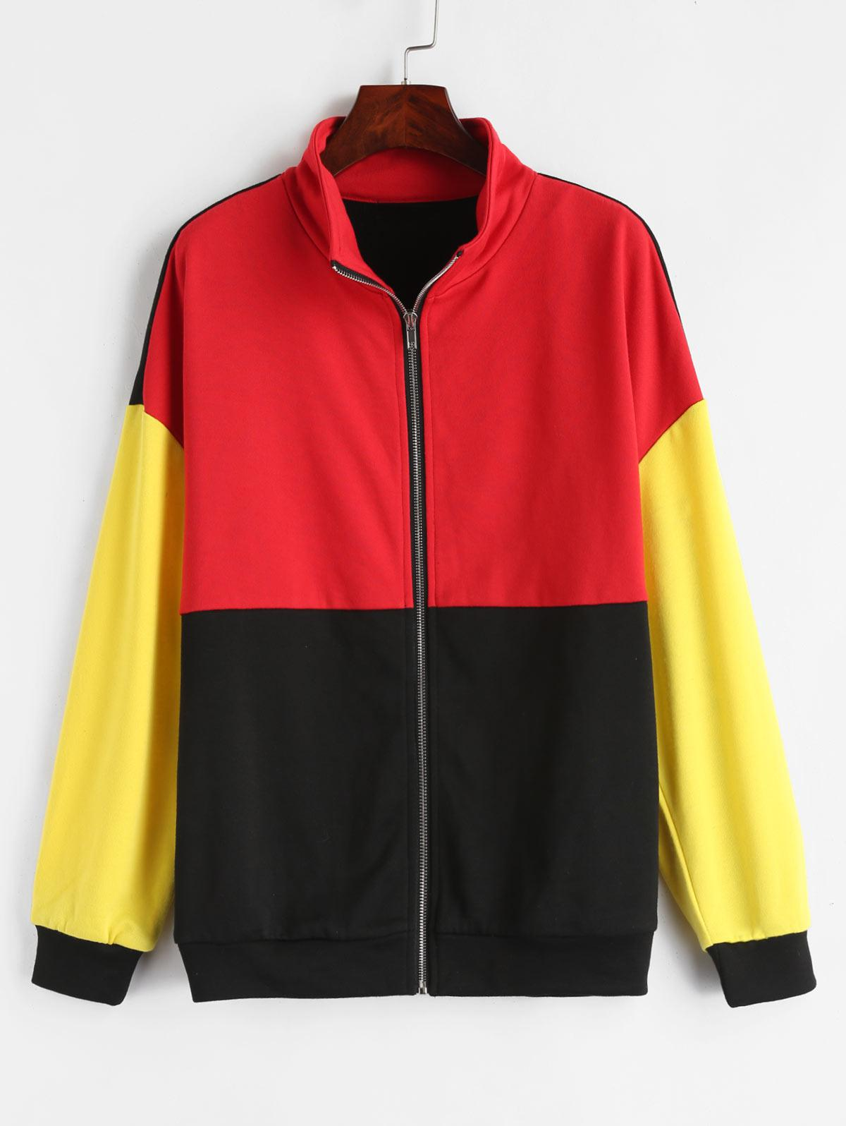 ZAFUL Zip Up Color Block Terry Sweatshirt