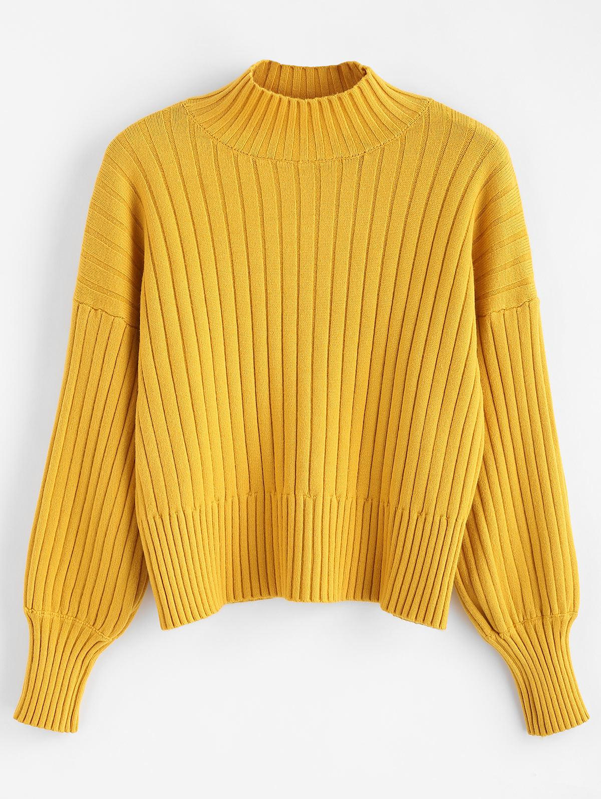 Dropped Shoulder Mock Neck Sweater thumbnail