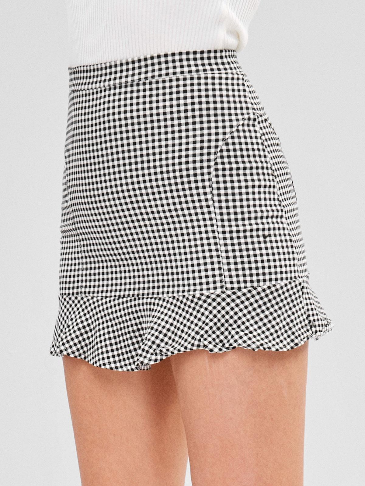 Short Gingham Ruffled Skirt thumbnail